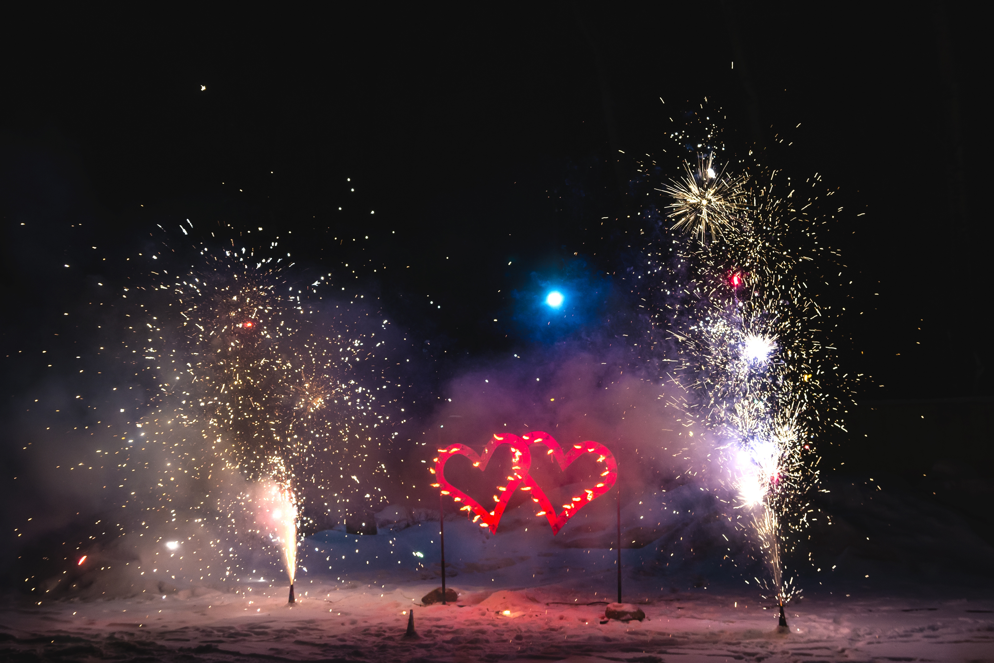 scenery from the burning hearts and fireworks for lovers